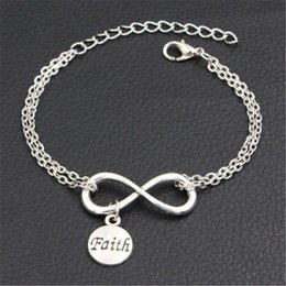 wholesale faith bracelets Australia - Wholesale Bohemian Double Infinity Love Letter Faith Pendant Charm Adjustable Bracelet for Women Men Link Chain DIY Jewelry Gift Accessories