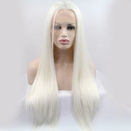 $enCountryForm.capitalKeyWord Australia - Fashion Glueless Synthetic Lace Front Wig White Blonde Silky Straight Hair Long Full Wigs Heat Resistant Brazilian Hair Natural Women Wigs