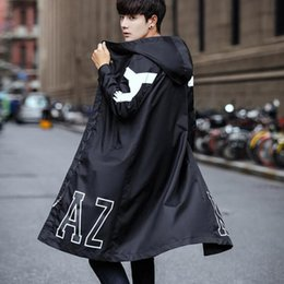 Wholesale trench cloak resale online - 2019 Spring autumn korean style men black hiphop zipper long trench coat hooded jacket men oversize fashion overcoat cloak XL
