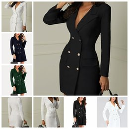 Sale Dress Suits Canada - 2019 European fashion hot sale solid color lapel long-sleeved double-breasted trend suit jacket dress, support mixed batch