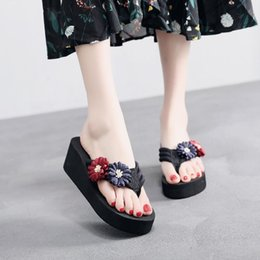 flat fabric shoes wholesale UK - 6 Cm High Heel Women's Summer Daisy Flowers Flip Flops Ladies Slippers Clip Feet Non-slip Wedge Heel Beach Shoes Women Slippers