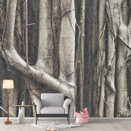 Discount photo background forest - Custom Photo Wallpaper Forest Trees Tree Roots Black White Nordic Personality Bedroom Living Room Background 3D Wallpape