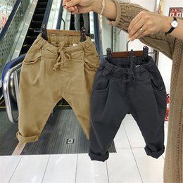 $enCountryForm.capitalKeyWord Australia - INS Newest Autumn Kids Boys Girls Trousers Tatting Cotton Casual Fashion Blank Straps Front Pockets Vintage Elastic Waist Children Pants