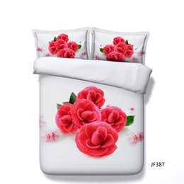 $enCountryForm.capitalKeyWord NZ - Red Rose Bedding Sets 3PC Love Heart Duvet Cover 2 Pillow Shams Floral Comforter Quilt Cover Flowers Blossom Leaves Bed Set Flowers Bed