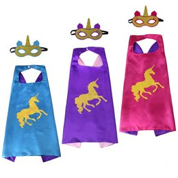Cotton Mask For Kids Australia - Unicorn Capes and mask sets cartoon cosplay Costumes unicorn cape+mask 2pcs set Halloween cape mask for Kids 70*70CM