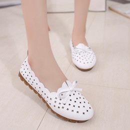 nurses rubber shoes Australia - 2019 Fashion Flats Women Hollow Nurse Women Loafers Flat Shoes Spring Bow Breathable Casual Shoes White