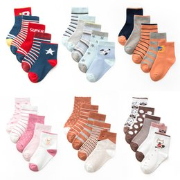 Wholesale casual girls tubes resale online - Baby Kids Socks Design Cartoon Striped Casual Middle Tube Sock Baby Boy Sockings Soft Socks Babys Girls Sock T