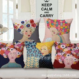 $enCountryForm.capitalKeyWord Australia - European Figure Printing Embrace Pillow Case Fashion Beauty Head Portrait Cushion Set Sample Between Office Back Cushion