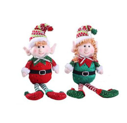 Discount elf dolls - 1PCS Cute Red And Green Long-Legged Elf Christmas Doll Gift Decoration Doll Christmas Tree Decoration