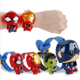 Wholesale Kids Avengers deformation watches New Children Superhero cartoon movie Captain America Iron Man Spiderman Hulk Watch toys dc410