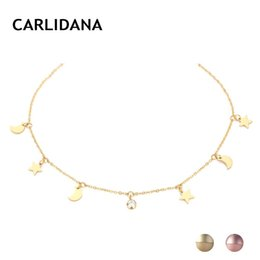 $enCountryForm.capitalKeyWord NZ - eManco Rose Gold Color Necklaces for Women Jewelry Stainless Steel Statement Necklace Trendy Fashion Jewelry Moon Star Pendants