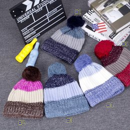 rainbow yarn 2019 - Rainbow Style Multicolored Wool Hat Winter Plushing Warm Ball Hat Trend Knitted Hat Home Party Hats MMA2419 cheap rainbo
