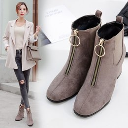 Woman Shoes Boots Australia - Sexy2019 Autumn And Pattern Noodles Boots European In Thick Cylinder With Increase Down Single Shoe Woman