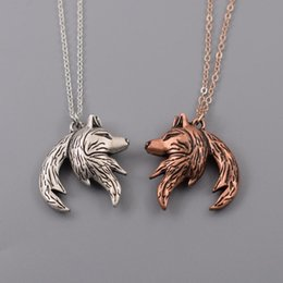 Interlock necklace online shopping - Wolf necklace Relationship necklace Interlocking couple pendant His and Her Necklaces His and Hers Gifts pair