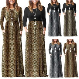 Wholesale spring skater dress for sale – plus size Women Leopard patchwork Maxi Dress Spring Autumn o neck Long sleeve Skater Party Leopard Dresses with poket LJJA3708