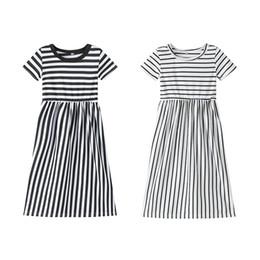 5ce11ec2d2888ab 2019 Новые платья для девочек Детские платья из хлопка в полоску с  принцессой для выпускного вечера Детская дизайнерская одежда для девочек  Повседневный ...