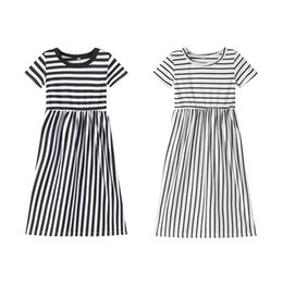 Chinese  Retail baby girl dresses Children Cotton Stripe Princess prom Dresses kids designer clothes girls Casual beach plus size long maxi dresses manufacturers