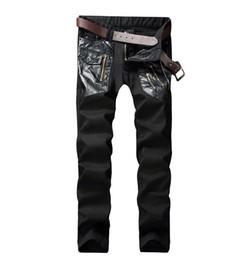 Designer Leather Trousers Australia - cheap motorcycle jeans men Punk personality splice leather black biker jeans men trousers male denim pants masculino fashion designer