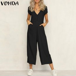 Plus Size V Neck Jumpsuit Australia - VONDA Rompers Womens Jumpsuit 2018 Summer Casual Sexy V Neck Short Sleeve Pockets Overalls Baggy Playsuits Plus Size Bodysuits