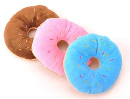 tug toys Australia - 11Cm Sightly Pet Chew Cotton Donut Play Toys Lovely Pet Dog Puppy Cat Tugging Chew Squeaker Quack Sound Toy Chew Donut Play Toys