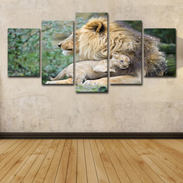 $enCountryForm.capitalKeyWord Australia - 5 Piece HD Printed African Animal Lion Mother Painting Canvas Print Room Decor Print Poster Picture Canvas Free Shipping