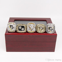 Pittsburgh Rings NZ - Drop Shipping 5PCS Pittsburgh Penguins Stanley Cup Championship Ring Set With wooden display box Fan Men Gift Wholesale