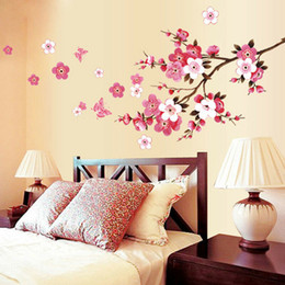 Small Butterfly Art Australia - Room Peach Blossom Flower Butterfly Wall Stickers Vinyl Art Decals Decor Mural