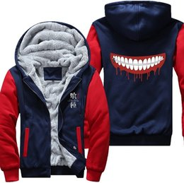 tokyo ghoul clothes NZ - Anime Thicken Cold Proof Hoodie Coat Tokyo Ghoul Ken Kaneki Cosplay Jacket Sweatshirts MEN WOMEN Top Clothing MX191113