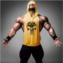 Hombres Stringer Bodybuilding Camiseta sin mangas Chaleco de la aptitud Muscle Beach Stringer Hoodie Para IFBB NPC Tanques singletes Ropa de fitness Y-Back Tanks en venta