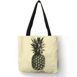 Fruit books online shopping - Personalized Fruit Print Shoulder Bag Pineapple Banana Printing Linen Tote Bags Casual Girls School Sports Book Reusable Handbag