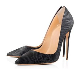 $enCountryForm.capitalKeyWord Australia - Spring Pumps Shoes Woman Of Serpentine Pattern Pointed Toe Thin Heels Super High Heel Shoes Whole Solid Black Color Size43,44,45