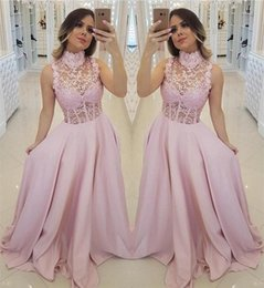 prom dresses sheer tops UK - 2020 Pink A Line Evening Dresses High Collar Lace Top Illusion Exposed Boning Bodice Formal Prom Party Gowns Custom Made