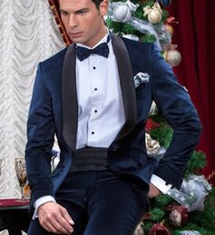 $enCountryForm.capitalKeyWord Australia - New Navy Blue Velvet Men Suit Wedding Suits For Men Italian Style Custom Made Groom Party Tuxedo Stage Mens Suits 2 pieces