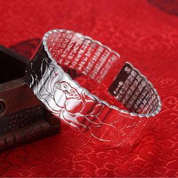 Platinum Product Australia - Factory direct new product big compassion curse wide face bracelet female bracelet Buddhist jewelry