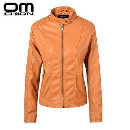 $enCountryForm.capitalKeyWord Australia - OMCHION 2019 New Spring Leather Jacket Women Black Mandarin Collar Zippers Short Female Faux Leather Jackets High Quality LMJ29