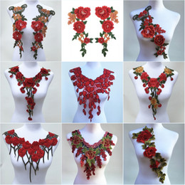 wholesale lace motifs Australia - 1Pc Red Color Venise Lace Fabric Dress Applique Motif Blouse Sewing Trims DIY Neckline Collar Costume Decoration Accessories