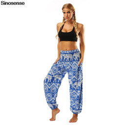 Wholesale high waisted pants resale online - 2020 Sporty Dance Harem Pants Womens Plus Hippie Bohemian Elephant High Waisted Pants Pockets Casual Loose Harem Trousers