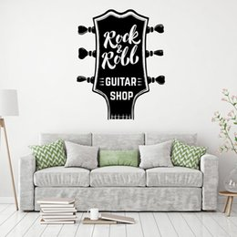 kids stickers roll Canada - Rock&Roll Music DIY Wall Decal Guitar shop decoration vinyl sticker waterproof removeable PVC decor art mural decals