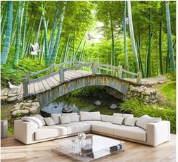 $enCountryForm.capitalKeyWord Australia - Wholesale-murals-Customized 3d wallpapers home decor Photo wall paper Small bridge flowing water bamboo forest 3D landscape sofa background