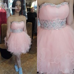 petite wedding gown pink Australia - 2019 Pink Aline Ruffled Tulle Cocktail Dresses Sweetheart Beads Customed Made Formal Party Dresses Prom Gowns