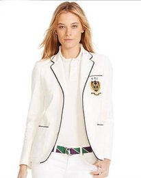 Polo For Women Australia - Cheap Spring Autumn Women Polo Jacket Blazer All England Club Tennis Jackets for Ladies Long Sleeve Girls Solid Coats White
