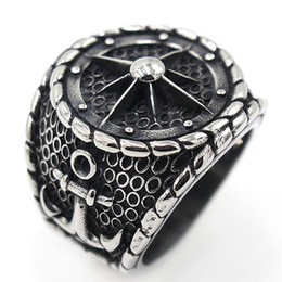 $enCountryForm.capitalKeyWord Australia - Top Quality Retro Gothic Punk Titanium Steel Men Silver Rings Compass Pirate Rings Skull Skeleton Jewelry Rings Men Gift