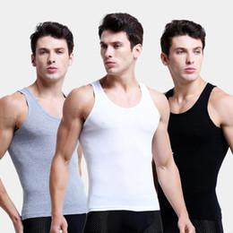 Vente en gros 3pcs / lot Hommes Coton Sous-vêtements sans couture solide Undershirts Vêtements pour hommes Débardeur sans manches Gilet confortable 3 couleurs Undershirt