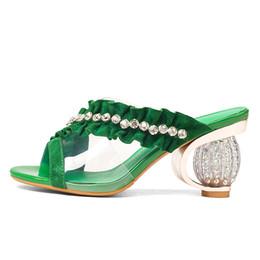 $enCountryForm.capitalKeyWord Australia - Summer Slipper for Women Diamond mosaic Shoes 8 cm Chunky heels Sexy Open-toe Transparent upper Mules Box Packing KL832