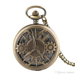 China Hollow Gearwheel Design Quartz Pocket Watch Unisex Fashion Arabic Numerals Men Watches Necklace Pendant Male Clock Gifts suppliers