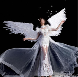 Discount cosplay angel wings Elegant white black gold large size Angel feather wings T-stage model catwalk shows wings props party performance shows
