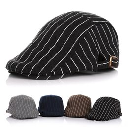 Wholesale Baby boys hat fashion infant kids stripe ball cap children metal buckle beret hat spring autumn boys outdoor accessories F8125