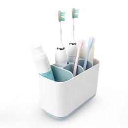 Wholesale Plastic Toothbrush Holder Shelf Colors Bathroom Soap Toothpaste Storage Rack Creative Storage Stand Box OOA6530