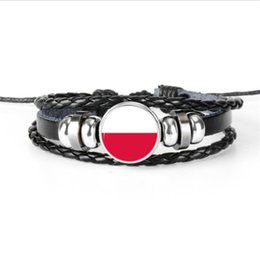 $enCountryForm.capitalKeyWord UK - Popular Leather Rope Beaded Women Men Bracelets Bangles Metal Glass Cabochon Poland National Flag World Cup Football Fan Jewelry Accessories