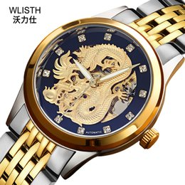 chinese watch alloy Australia - WLISTH Brand Watch 2019 New Golden Men's Watch Chinese Dragon Totem Hollow Mechanical Men's Watch